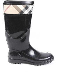 Burberry Nova Check Rain Boots - Black