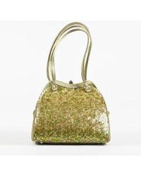 Judith Leiber - Green Satin Sequined Handbag - Lyst