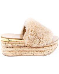 Chloé Camille Shearling Platform Slide Sandals - Brown