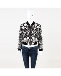 Needle & Thread Floral Embroidered Beaded Bomber Jacket - White