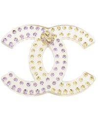 Chanel Cc Rhinestone Brooch - White