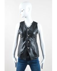 Chrome Hearts - Black Sterling Silver Leather Lace Up & Buttoned V Neck Vest - Lyst