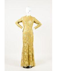 Zuhair Murad Haute Couture Lace High Neck Gown Gold Sz: Custom - Metallic