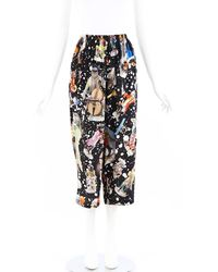 Libertine Monkey Print Silk Cropped Pants Black/multicolor Sz: S