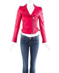 IRO Leather Cropped Moto Jacket - Pink