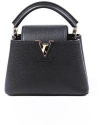 Louis Vuitton Capucines Mini Black Taurillon Leather Satchel Bag Black/logo Sz: M
