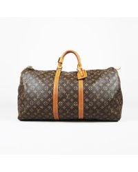 """Louis Vuitton - Vintage Brown Monogram """"keepall 55"""" Duffel Bag - Lyst"""