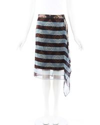 Dries Van Noten Striped Silk Asymmetric Skirt Purple/multicolor Sz: M - Black