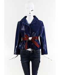 Maison Margiela Maison Margiela Blue Silk Blend Belted Jacket Blue Sz: Custom