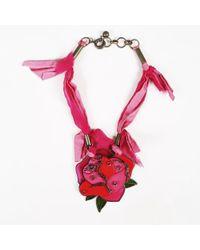 Lanvin Multicolour Metal Resin Plastic & Crystal Flower Pendant Necklace