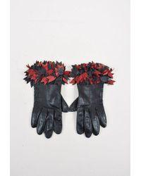 Hermès - Black Red Leather Ruffled Gloves - Lyst