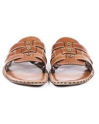 Celine Vintage Woven Leather Slide Sandals Brown Sz: 6