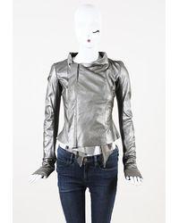 Rick Owens Leather Jacket - Metallic