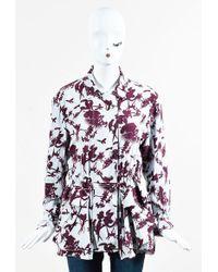 Etro - Blue & Purple Floral Print Zipped Multi Pocket Jacket - Lyst