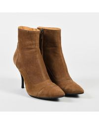Lanvin - Brown Leather Pointed Cap Toe Ankle Boots - Lyst