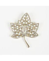 """Chanel - 2018 Crystal 'cc' Faux Pearl """"leaf Brooch"""" Pin - Lyst"""