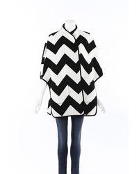 Akris Punto Chevron Wool Cashmere Cape Black/white Sz: S