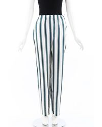 Burberry Green White Striped Silk Trousers