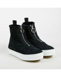 Céline - Black White Suede Faux Fur Lined Platform Sneakers - Lyst