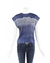 Chloé Textured Silk Top Blue/white Sz: S