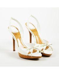 Dior - Cream Patent Leather Cork Platform High Heel Sandals - Lyst