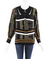 Chanel Aviation Silk Blouse Black/multicolor Sz: S