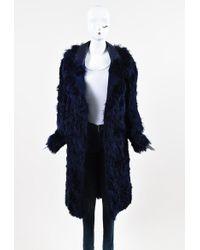 Tom Ford Alpaca Fur Leather Oversized Collar Coat - Blue