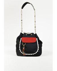 Boutique Moschino 1 Black Grosgrain Olive Oyl Keychain Bucket Bag
