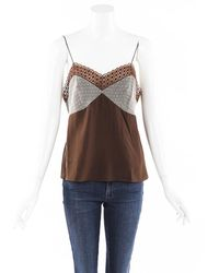 Chloé Silk Lace Camisole Brown/floral Print Sz: M