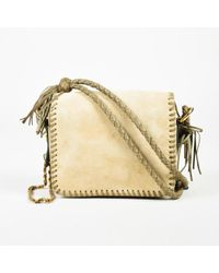 "Mayle - ""sand"" Beige Suede ""verde"" Green Woven Leather Tassel ""ines"" Shoulder Bag - Lyst"