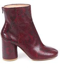 Maison Margiela Maison Margiela Tabi Red Black Snakeskin Block Heel Ankle Boots