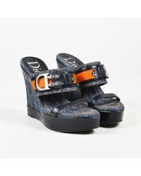 Dior - Blue Black & Orange Denim & Leather D Buckle Wedge Sandals - Lyst