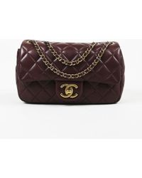 Chanel - Burgundy Quilted Lambskin Leather New Mini Flap Bag - Lyst