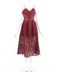 Self-Portrait Azaelea Red Guipure Lace Pleated Midi Dress