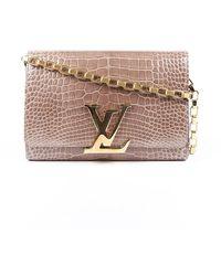 Louis Vuitton Chain Louise Gm Alligator Bag - Brown