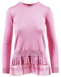 N°21 Pink Wool & Silk Layered Long Sleeve Jumper
