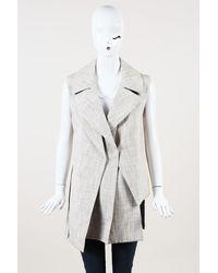 Victoria Beckham Tweed Double Layer Vest - Natural