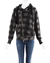 Bliss and Mischief Gray Checked Cotton Hoodie Sweatshirt Black/gray Sz: M - Multicolor