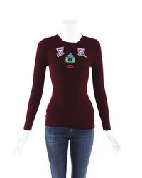 Mary Katrantzou Embroidered Face Wool Jumper