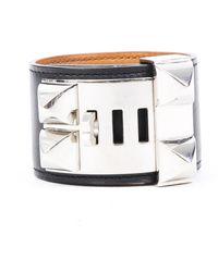 Hermès Collier De Chien Swift Leather Bracelet - Metallic