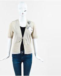 Brunello Cucinelli - Taupe Linen Blend Leaf Applique Tie Cardigan - Lyst