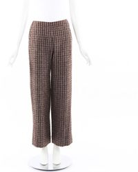 Chanel Boutique Striped Wool Wide Leg Trousers - Brown
