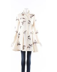 Dior Beaded Embroidered Wool Swing Coat Cream/purple/floral Print Sz: M - Natural