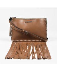 "Miu Miu - ""cannella"" Brown & Silver Tone Leather Studded Fringe Crossbody Bag - Lyst"
