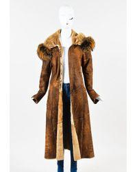 Roberto Cavalli Brown Shearling Leather Fur Hooded Jacket