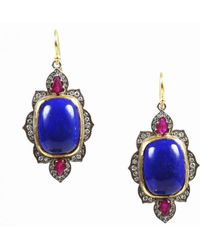 Arman Sarkisyan - Multicolor 22k Gold Silver Ruby Lapis Lazuli & Diamond Earrings - Lyst