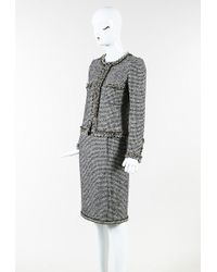 Chanel Black White Gold Tweed Skirt Suit