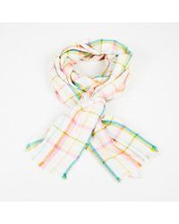 Loro Piana Cream Multicolour Plaid Cashmere Silk Scarf