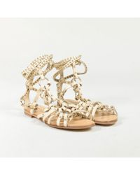 "Balmain ""sable"" Beige Leather Studded ""lawrence"" Gladiator Sandals"