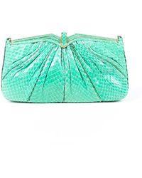 Judith Leiber Green Snakeskin Evening Bag Green Sz: M